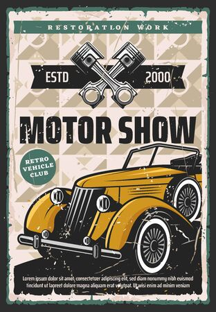 Motor show vector retro poster. Vintage cars and rarity vehicle restoration, race, motorshow and museum exhibition. Old car restoration work service and mechanic garage station