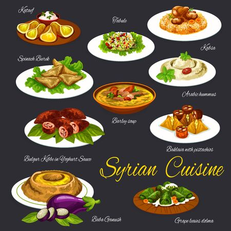 Syrian cuisine food and desserts vector menu set. Qatayef, tabbouleh salad and barley soup, hummus and kabsa, spinach burek, bulgur kibbe and baklava with pistachios, baba ganoush, grape leaves dolmeh