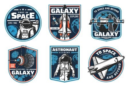 Astronaut academy, galaxy explore vector icons. Space shuttles expedition, exploration and adventure, satellites in outer space. Cosmos explorers and alien planets colonization mission retro labels
