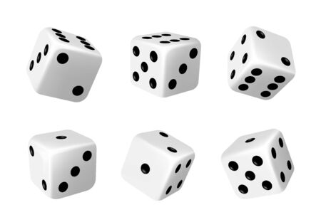 White dices with black dots set. Pipped dices with rounded corners. Die for casino craps, table or board games, luck and random choice symbol from different sides view, isolated 3d realistic vector