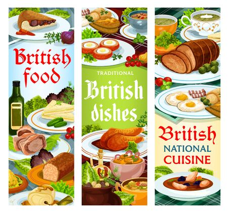 British food vector meals English dishes kok-e-liki scotch soup, cod with sauce and scotch smoked trout plate. Kidney soup, beef wellington and scottish eggs, cucumber sandwich Britain cuisine banners
