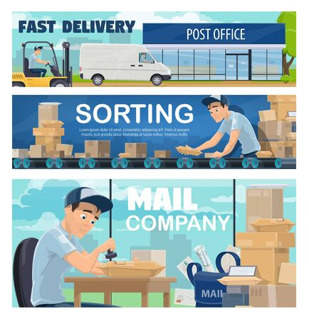 Postal office sorting line, delivery. Courier driving a van, postman or mailman sorting packages on conveyor belt and stamping parcels. Logistics and fast delivery or shipping, post mail service