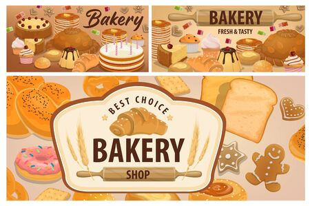 Sweet, pastry and bakery products banners. Bakery shop bread, desserts and holiday cakes. Birthday cake, donut with icing, croissant, cheesecakes, cupcakes and muffins, pancakes, bread and gingerbread