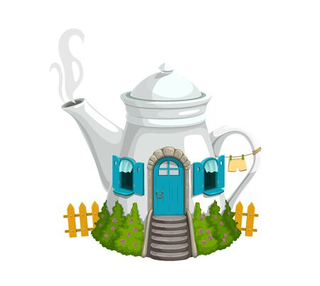 Cartoon ceramics white kettle or teapot gnome house with wooden door, windows and steaming pipe. Fantasy building with green bushes, fence and linen on rope. Fairytale gnome or elf cute house