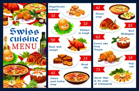 Swiss food cuisine restaurant vector menu template with meat dishes and pastry desserts. Gingerbread leckerli, chicken in dough, duck with orange and bread cake. Swiss pearl barley soup menu dishes Ilustração