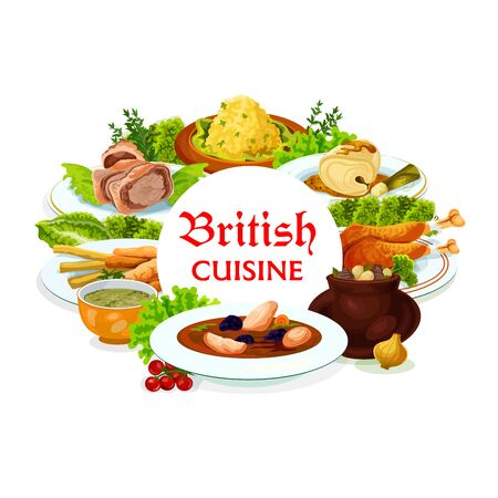 Britain cuisine vector meals kok-e-liki scotch soup, cod with sauce and smoked trout plate, beef wellington, broccoli and vegetable puree. Rabbit stew and welsh sorrel soup British dishes round frame Vettoriali