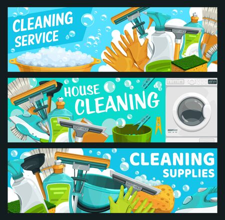Cleaning service, laundry and hygiene vector banners. Rubber gloves and window squeegee, mop and broom, dish soap, washing machine and iron, brush, bucket. Tools and detergents, cleaning and hygiene