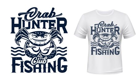 Crab mascot t-shirt print vector mockup. Emblem with smiling crab character, water waves and grungy typography. Fishing sport and hobby club, fisher tshirt, apparel custom design print template