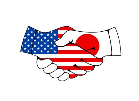 Usa and Japan handshake, trade and business deal agreement vector icon. Joined hands with japanese and american flags. Business or politics greeting, partnership and friendship, trade and cooperation