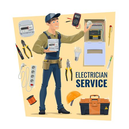 Electrician with tools, vector. Contractor, electrical service, supplies shop banner. Serviceman in uniform, tool belt and energy meter, toolbox, cable and extender, distribution board and light bulb Ilustração