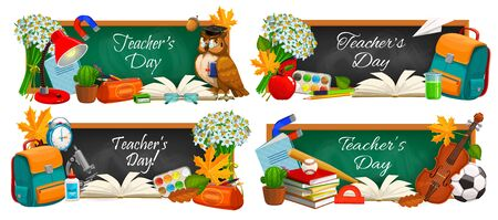 Teacher day, vector chalkboard banners with education supplies and school books. School, college and university teacher day, student bag with watercolors, flowers and pen, lessons copybooks and clock