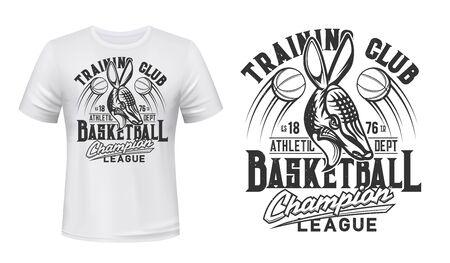 Armadillo animal mascot t-shirt print vector mockup. Angry armadillo, flying basketball balls and typography. Basketball team or sport club, championship or league player apparel print design