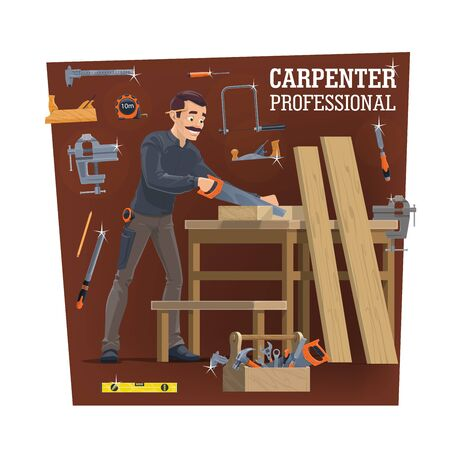 Carpentry workshop worker with tools, vector. Carpenter cutting a wood plank with handsaw and making furniture. Vise and joiner plane, jigsaw, file and measure tape, tools in toolbox. Woodwork