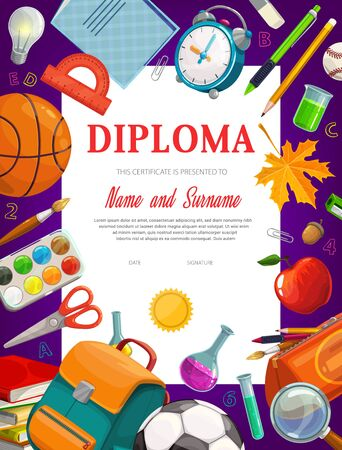 Kids education diploma certificate vector template. School and preschool kid graduate certificate. Cartoon frame with textbooks and rucksack, mapple leaves and alarm clock, stationery and sports ball