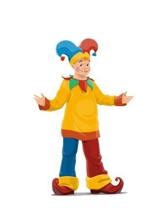 Chapiteau or Big Top Circus clown character. Clown with face makeup, wearing colorful costume with long pants, cap and bells hat, curled toes shoes. Jester standing with arms apart cartoon vector