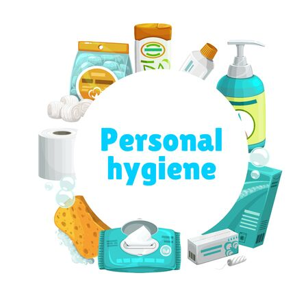 Personal hygiene and care, vector round banner. Shampoo and toothpaste, liquid soap or sanitizer, detergent, sponge with foam bubbles, wet wipes and sanitary tampon, toilet paper and cotton balls