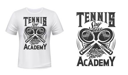 Tennis sport academy t-shirt print vector mockup. Two crossed tennis rackets and lettering. Racket sport item, tennis academy clothing custom design print, apparel mockup Ilustração