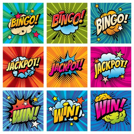Bingo and win comic bubbles vector set. Happy whoop after jackpot, gambling game win or reaching achievement. Cloud explosion with stars and pop art typography on striped, twisted background