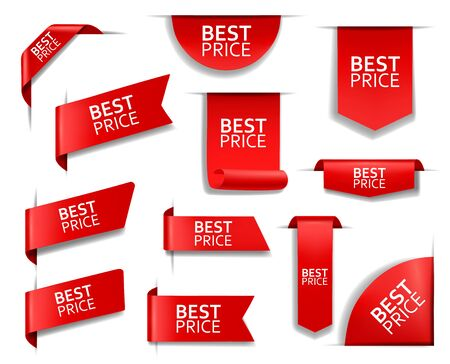 Best price red vector banners and corners, labels and tags. Web sale isolated 3d icons. Realistic ribbons and labels. Discount silk promotional event banners, shopping tags and best price badges