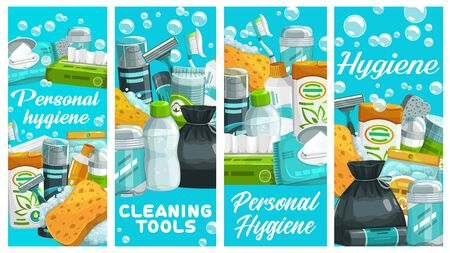 Personal hygiene products, cleaning tools. Wipes and napkins, shampoo, shaving foam, deodorant and micellar water, toothbrush, safety razor. Body hygiene and skincare cosmetics, vector banners