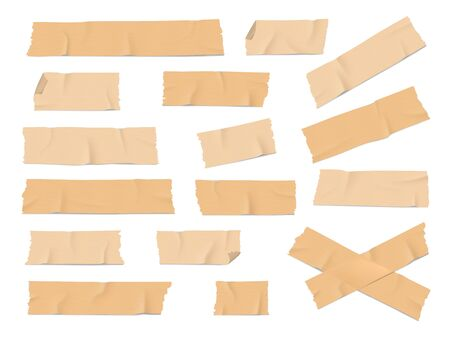 Adhesive, duct or insulating tape pieces realistic vector set. Beige masking tape crumpled stripes with torn, curved edges on white background. Industry, packaging, office supplies,scrapbook element