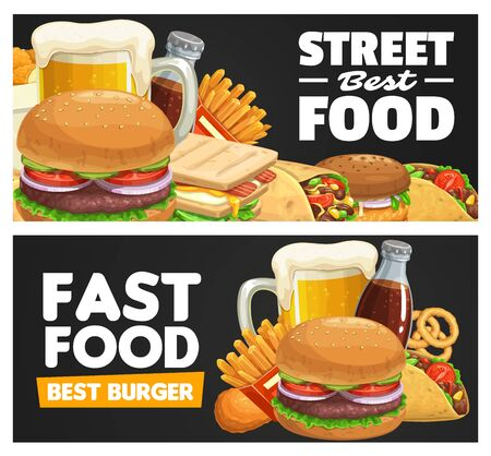 Fast food meals and snacks vector banner. Beer tankard, beef and turkey hamburger, sandwich, burrito and tacos, french fries, fried chicken legs and onion rings, sweet drink. Street or takeaway food