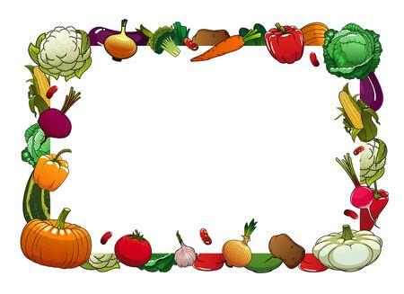 Farm ripe vegetables vector frame border. Cauliflower, cabbage and broccoli, pepper, onion and garlic, tomato, pattypan and zucchini, pumpkin, radish, corn and potato, beans and eggplant Ilustração