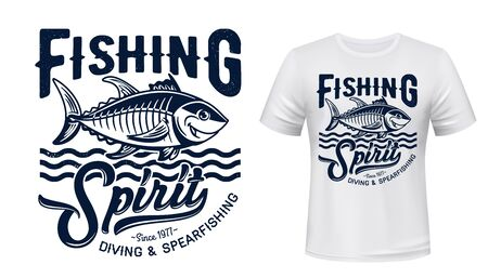 Tuna fish mascot t-shirt print vector mockup. Smiling tuna fish under sea water waves and grungy typography. Diving and spearfishing club, sport fishing hobby apparel custom design print template Stock fotó - 150355654