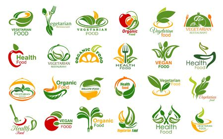 Vegetarian food and meals vector icons set. Vegetarian restaurant or cafe symbols with vegetables, fruits and herbs, leaves and kitchen utensil, fork, spoon and cloche. Healthy organic food icons