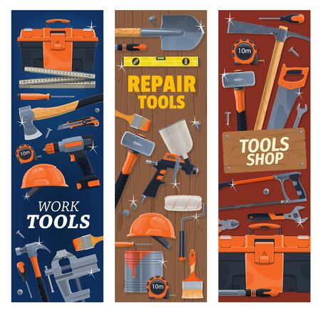 Construction, repair, DIY tools and toolbox. Vector. Carpenter rule and measuring tape, pickaxe and sledgehammer, utility knife, spanners, roller brush and sprayer. Construction work tools banner