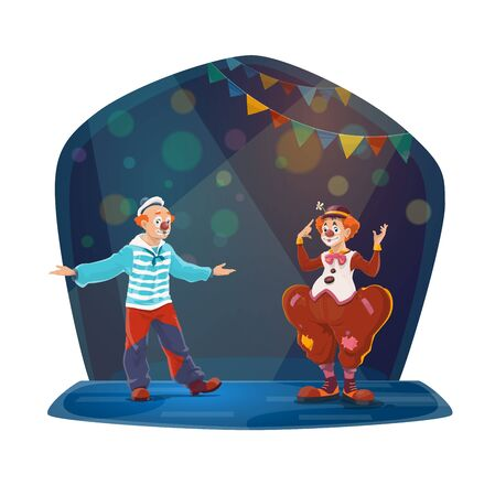 Big top circus clowns characters performing on stage. Two clowns with false noses, wearing sailor and tramp costumes, entertains audience with theatrical performance or pantomime show cartoon vector