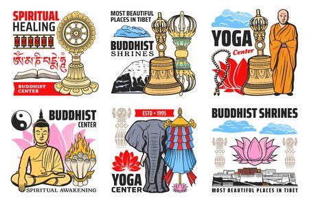 Buddhism religion symbols isolated vector icons. Buddhist symbolic beads, tibetan monk and lotus, prayer wheels. Buddha statue and precious umbrella, Dharma wheel and Tibetan Potala, flag and elephant