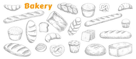 Bakery, pastry and bread isolated vector sketch icons. Engraved bake shop rye and wheat bread sorts, muffin, bun and bagel, sliced loaf, french baguette and croissant, pretzel and biscuit sketch
