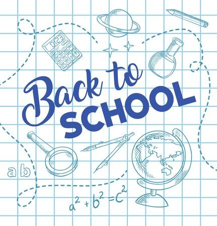 Back to school, education pen blue ink vector sketch. Stationery and school supplies, globe and planet, laboratory flask, magnifying glass, pencil and compass, calculator and equation on squared paper Ilustração