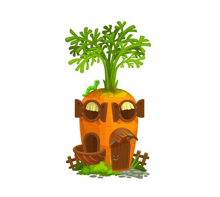 Cartoon carrot gnome house. Isolated vector ripe cartoon vegetable with wooden door, round windows, balcony and caterpillar on roof. Fantasy building with green leaves. Fairy, gnome or elf cute house