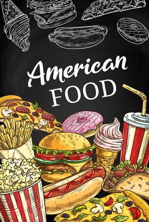 American fastfood poster, sketch takeaway fast food vector burger, hot dog, pizza and soda drink. French fries, donut, ice cream or tacos takeaway snacks on blackboard with junk food sketch poster  イラスト・ベクター素材