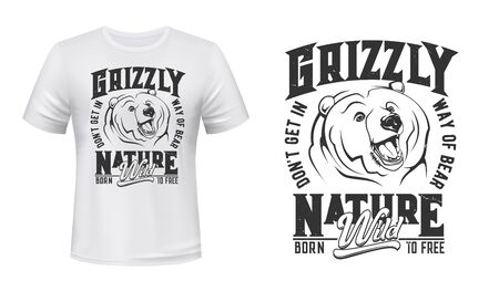 Grizzly bear mascot t-shirt print vector mockup. Emblem with roaring bear head, grizzly showing fangs. Apparel custom design print template with wild, predatory animal, slogan and typography
