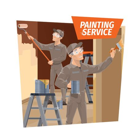 Wall painting and wood varnishing, repair service. Workers in overalls and goggles, using roller and brush, painting walls and varnishing wooden elements. Home, office repair, room interior renovation