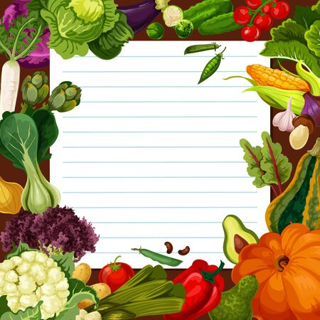 Vegetable meal salad recipe vector template. Radish and artichoke, cabbage and cauliflower, brussels sprout, potato and tomato, pumpkin, onion and mushroom. Piece of paper with vegetables