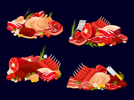 Meat types vector veal and beef, pork, chicken and mutton. Raw meat assortment for butcher shop. Beef steak, pork ham and fowl, mutton ribs with fresh vegetable, herbs and spice, farm products