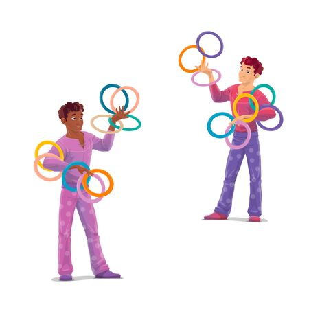 Top tent circus jugglers. Isolated cartoon vector artists characters in stage costumes throwing a rings. Men showing a tricks. Entertainment circus performance or amusement, skillful performers