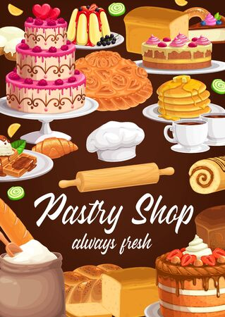 Desserts and sweet pastry vector banner. Bakery, bread, pie and cake confectionery. Wedding cake with raspberry, jelly pudding with currant, pancakes poured honey, waffles with ice-cream and topping
