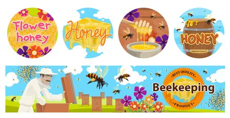 Beekeeping, apiary agriculture vector banners with beehives, beekeeper in protective suit, barrel and honeycombs. Bees collecting flower honey on field. Natural sweet food production, apiary business