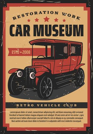 Retro cars museum vector design. Vintage vehicles club and garage station, old classic cars exhibition show. Antique rarity transportation museum, restoration and mechanic repair service