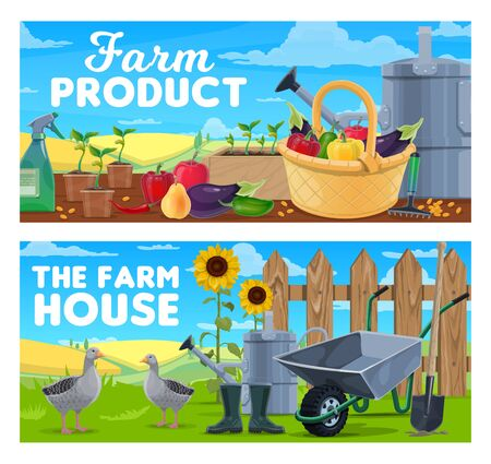 Farm products and natural farming vector banners. Agriculture and food production. Basket with ripe fruits and vegetables, gardening tools, wheat field, geese near fence, seedlings and watering can