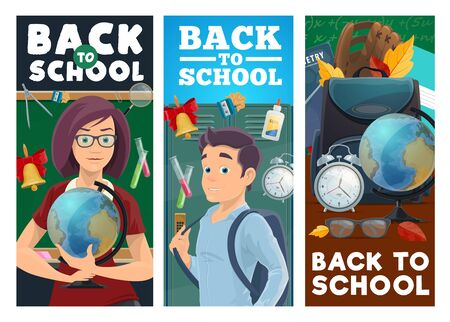 School education vector banners. Cartoon teacher woman holding a globe, pupil and blackboard, lockers and student supplies. Tutor and teen student with schoolbag and educational accessories