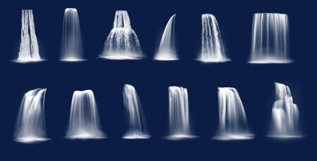 Waterfalls realistic vector of mountain river water falls and cascades. Flowing streams and rapids falling in streambeds, dropping and sliding along cliff slope with fountain splashes and drops