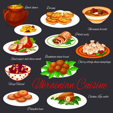 Ukrainian national cuisine dishes restaurant menu vector set. Borscht and deruny, buckwheat bread, vegetable salad, pumpkin buns, chicken Kiev cutlet, mutton stew and stuffed peppers