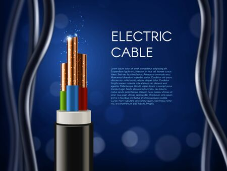 Electric cable with copper wire conductors. Vector 3d wiring, realistic wire cable with multicolored insulation and electric spark. Electricity, internet and television technology cord supply poster