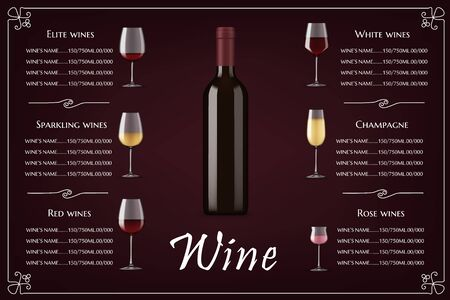 Restaurant wine list vector realistic menu. Restaurant wines collection menu with product description, filled beverages glasses and blank, corked bottle. Elite alcohol drinks shop pricing list
